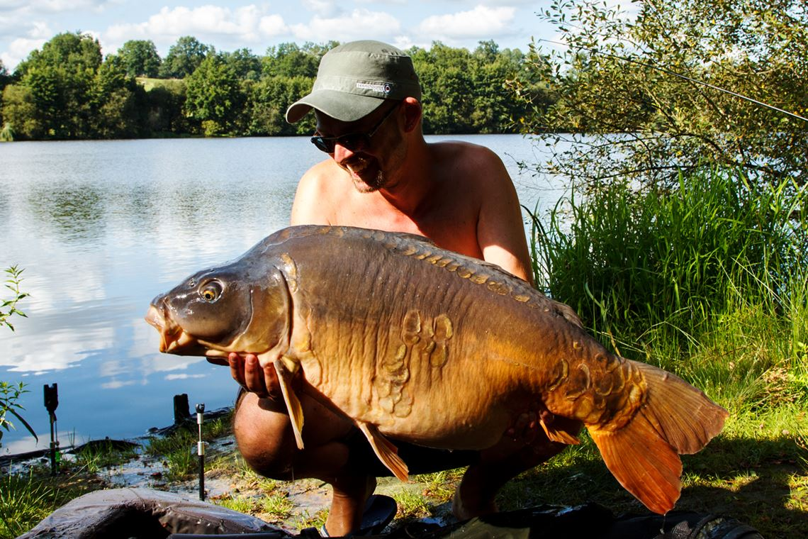 48lb Mirror Carp caught at Cherpont Lake
