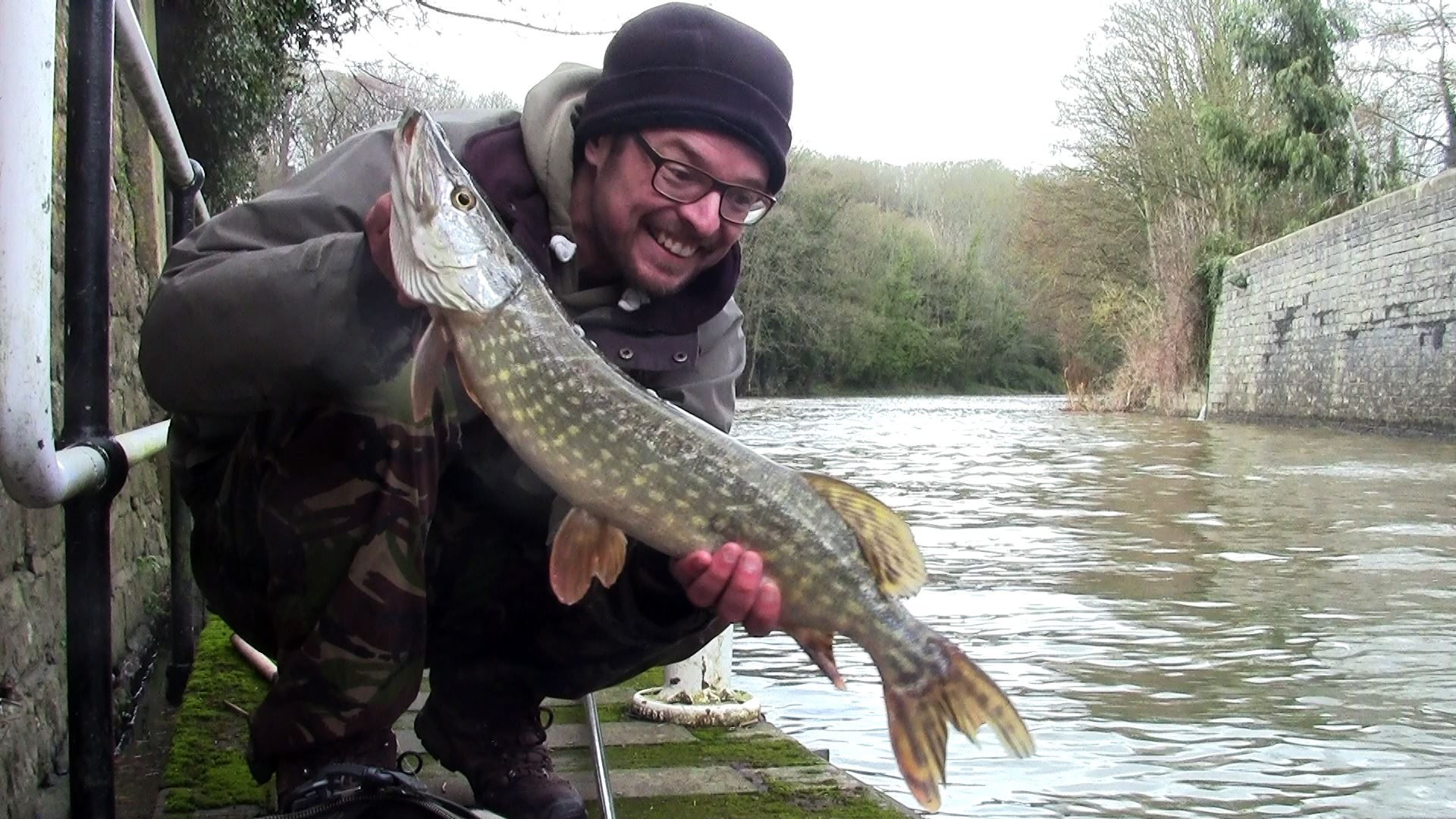 Pike caught from Weston Lock on the River Avon