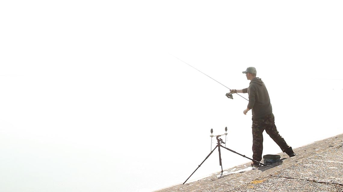 Casting in the mist at Cheddar Reservoir